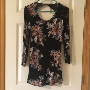 black floral cutout back dress/tunic